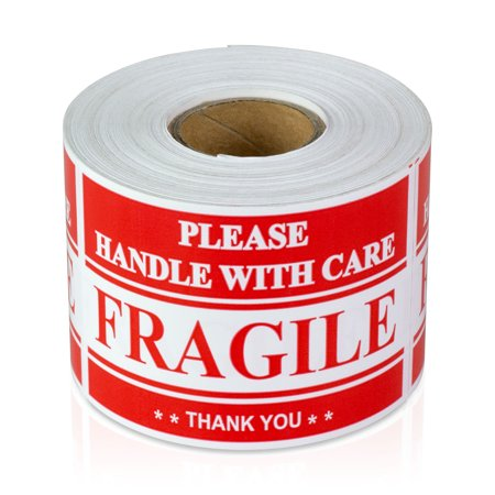 "OfficeSmartLabels 3"" x 2"" Fragile Handle with Care Labels for Mailing & Shiping (Red, 300 Labels per Roll)"