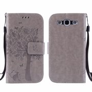 Galaxy S3 S III Case, Samsung Galaxy S3 Phone Cases, Allytech [Embossed Cat & Tree] PU Leather Wallet Case Folio Flip Kickstand Cover with Card Slots for Samsung Galaxy S3 III I9300, Gray