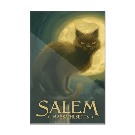 Salem, Massachusetts - Black Cat - Halloween Oil Painting - Lantern Press Artwork (8x12 Acrylic Wall Art Gallery Quality)