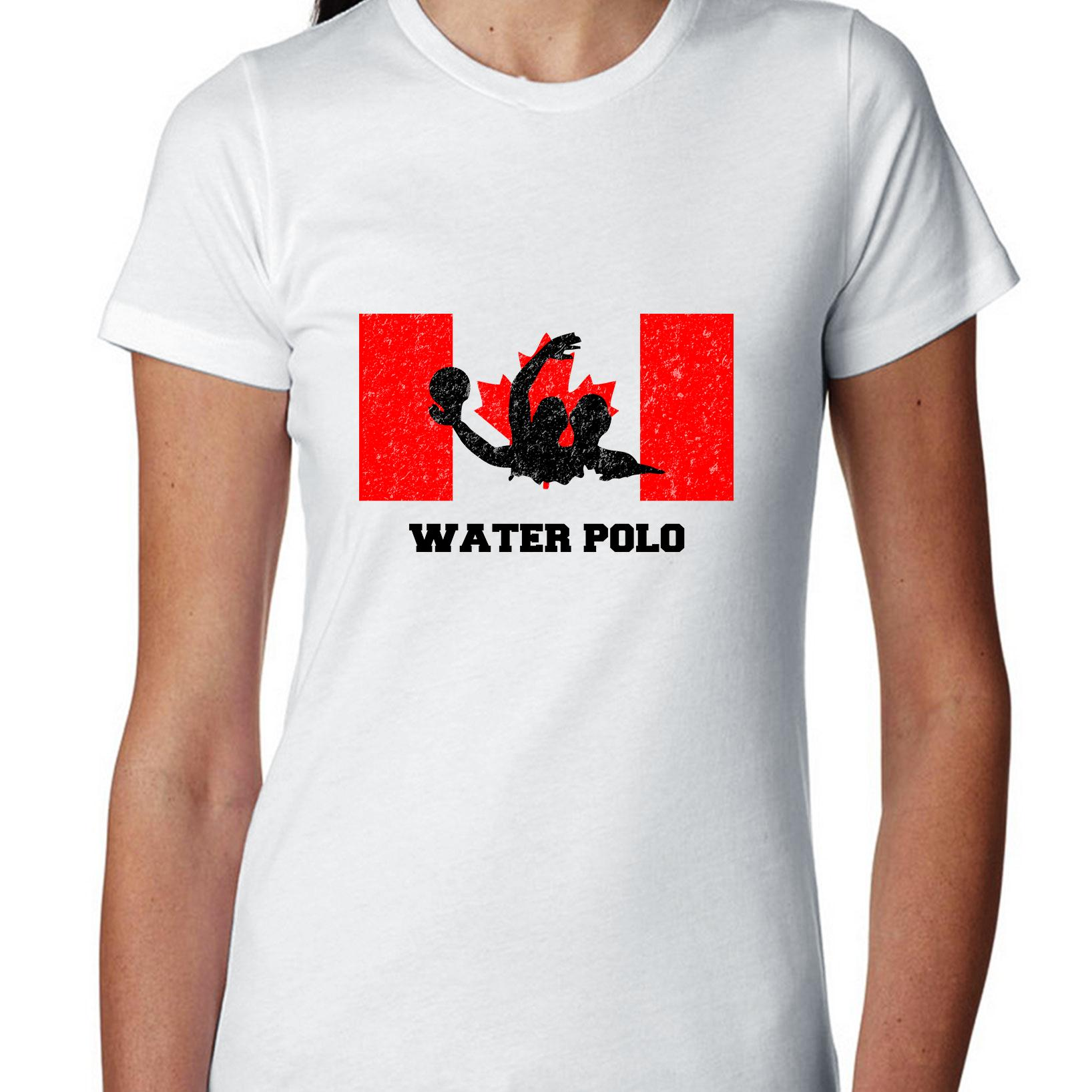Canada Olympic Water Polo Flag Silhouette Women's Cotton T-Shirt by Hollywood Thread