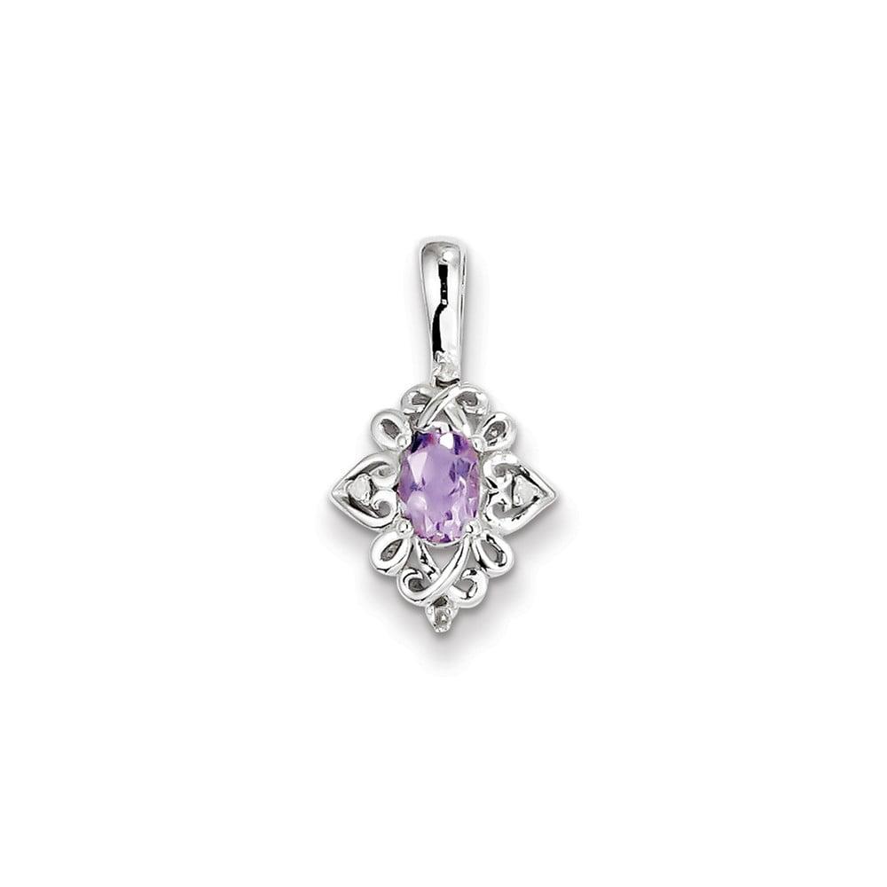 Sterling Silver Pink Amethyst Diamond Pendant. Carat Wt- 0.02ct. Gem Wt- 0.43ct