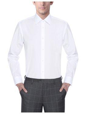 Men's Regular Fit Long Sleeve Solid Dress Shirt