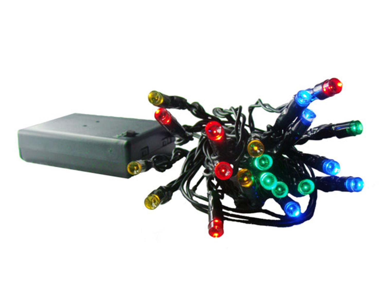 10 Battery Operated Multi-Color LED Wide Angle Christmas Lights ...