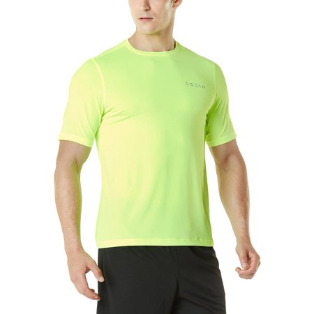 TSLA Tesla MTS04 HyperDri Short Sleeve Athletic T-Shirt - Solid Neon Yellow](Neon Shirt)