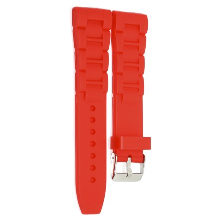 24MM RED RUBBER SILICONE WIDE LINK WATCH BAND STRAP FITS FOSSIL NATE