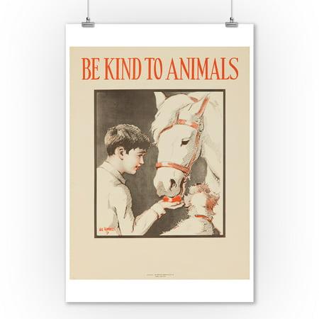 Be Kind to Animals (horse) Vintage Poster (artist: Ranells) USA c. 1939 (9x12 Art Print, Wall Decor Travel -