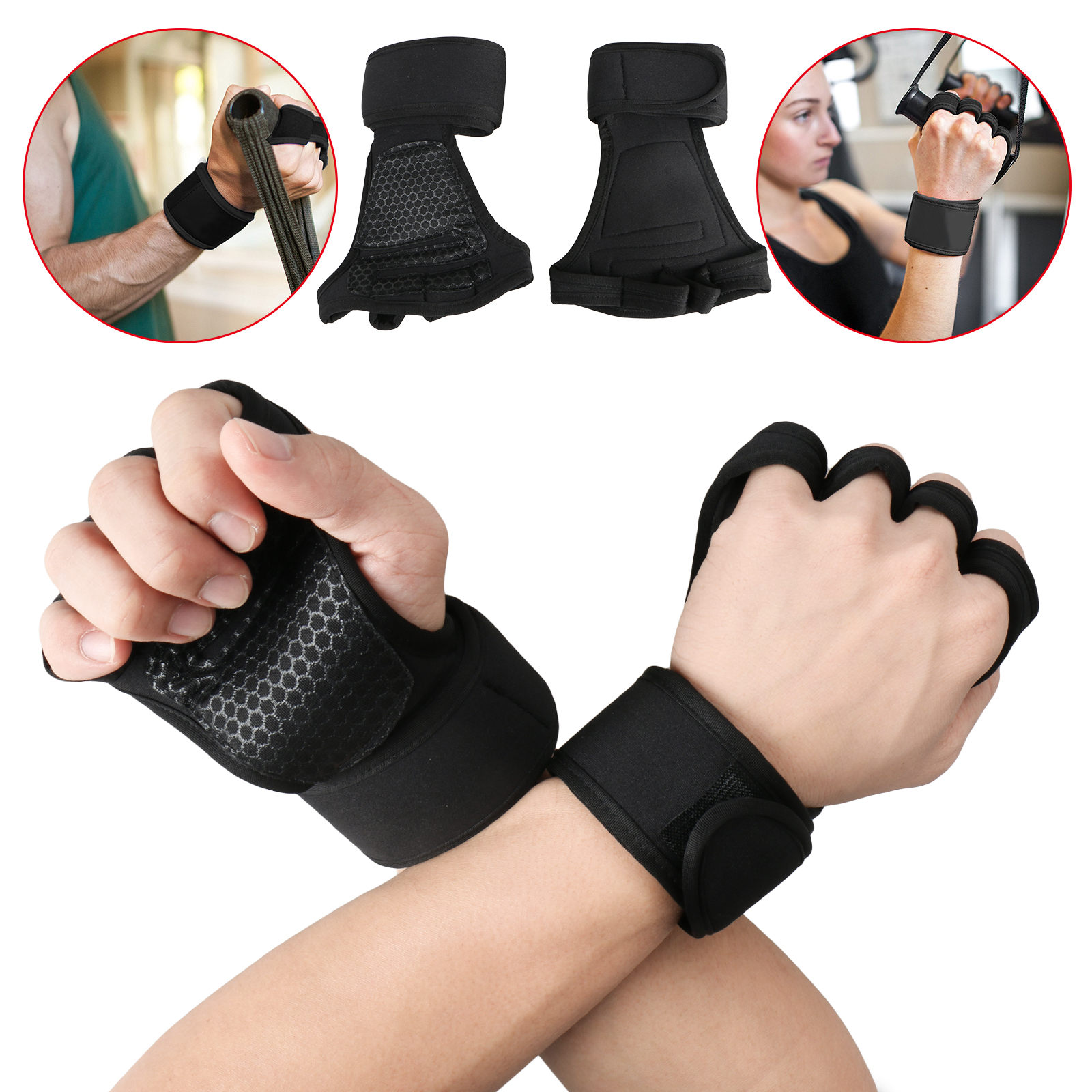 Crossfit Weight Lifting Gloves with Wrist Support for Gym Workout, Cross Training, Fitness, WOD, Pull Ups &... by