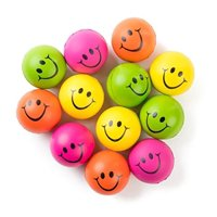 """Neliblu Neon Colored Smile Funny Face Stress Ball Squishie Toys Pack of 12 Relaxable 2.5"""" Stress Relief Fun Toys"""