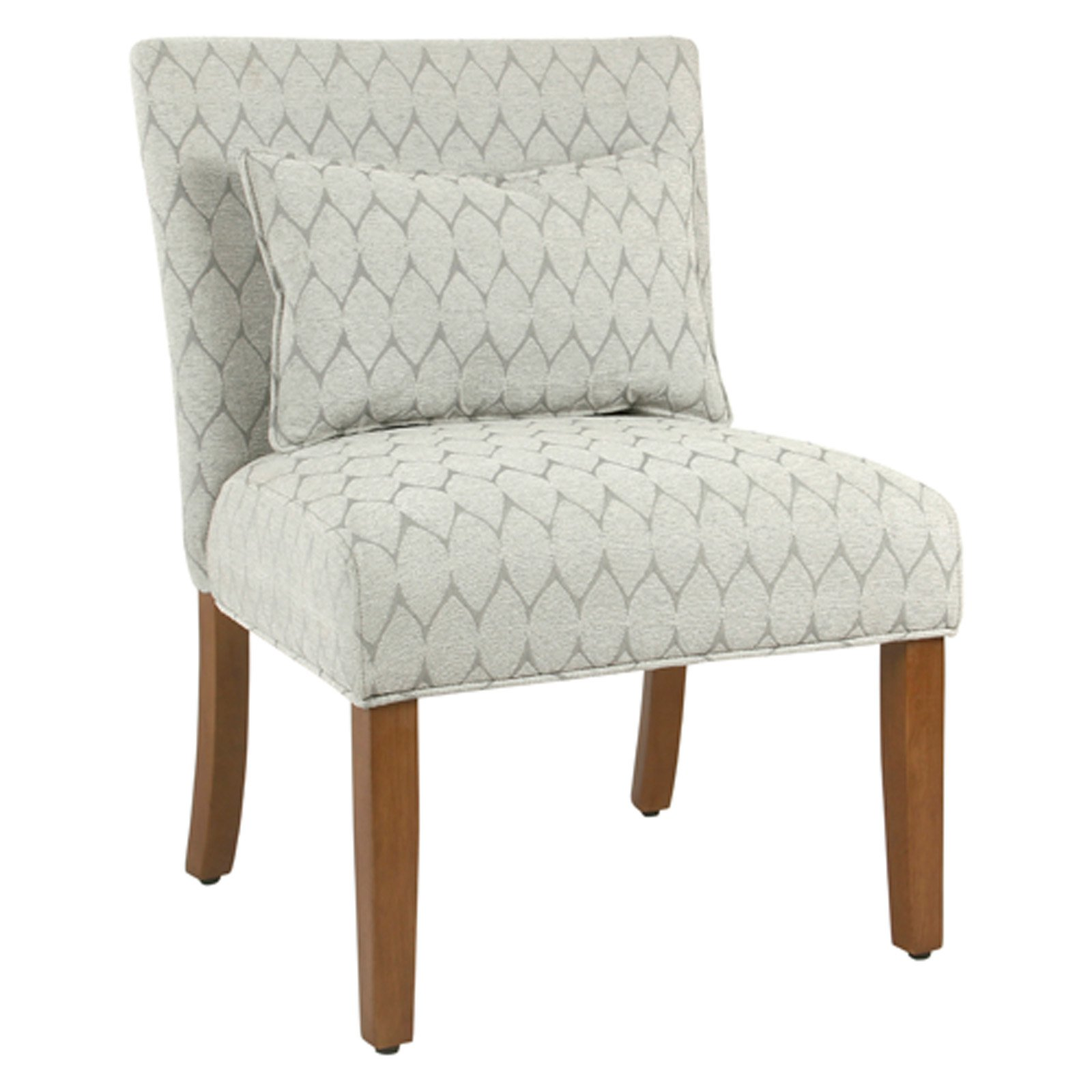 Fabric Upholstered Wooden Accent Chair With Printed Medallion Pattern,  Brown And Gray