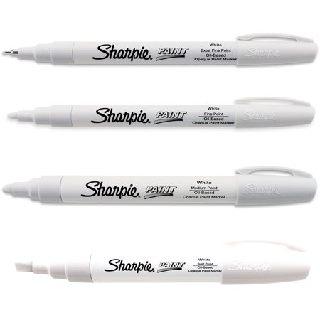 Sharpie White Paint Marker Oil Based All 4-Sizes Kit Markers Broad Medium Fine ()