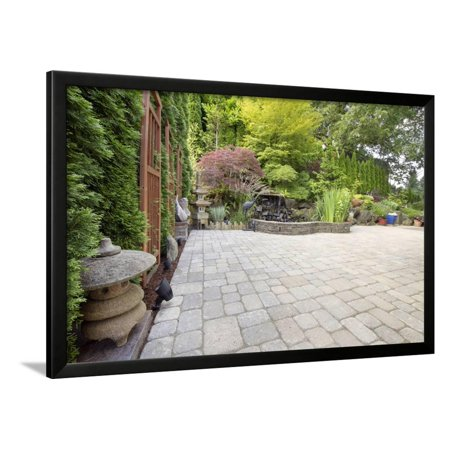 Backyard Asian Inspired Paver Patio Garden Framed Print Wall Art By ...