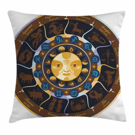 Astrology Throw Pillow Cushion Cover  Aries Taurus Gemini Cancer Leo Virgo Libra Scorpio Horoscope Signs  Decorative Square Accent Pillow Case  20 X 20 Inches  Brown Yellow And Blue  By Ambesonne