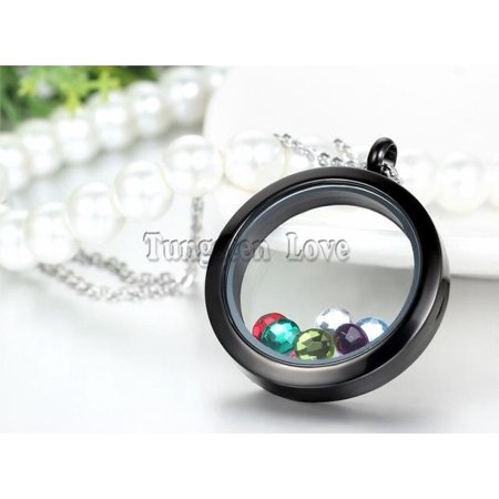 White Gold Round Locket - 30mm Round Shape Magnetic Glass Stainless Steel Floating Locket with Colorful rhinestone Necklaces 45cm Chain