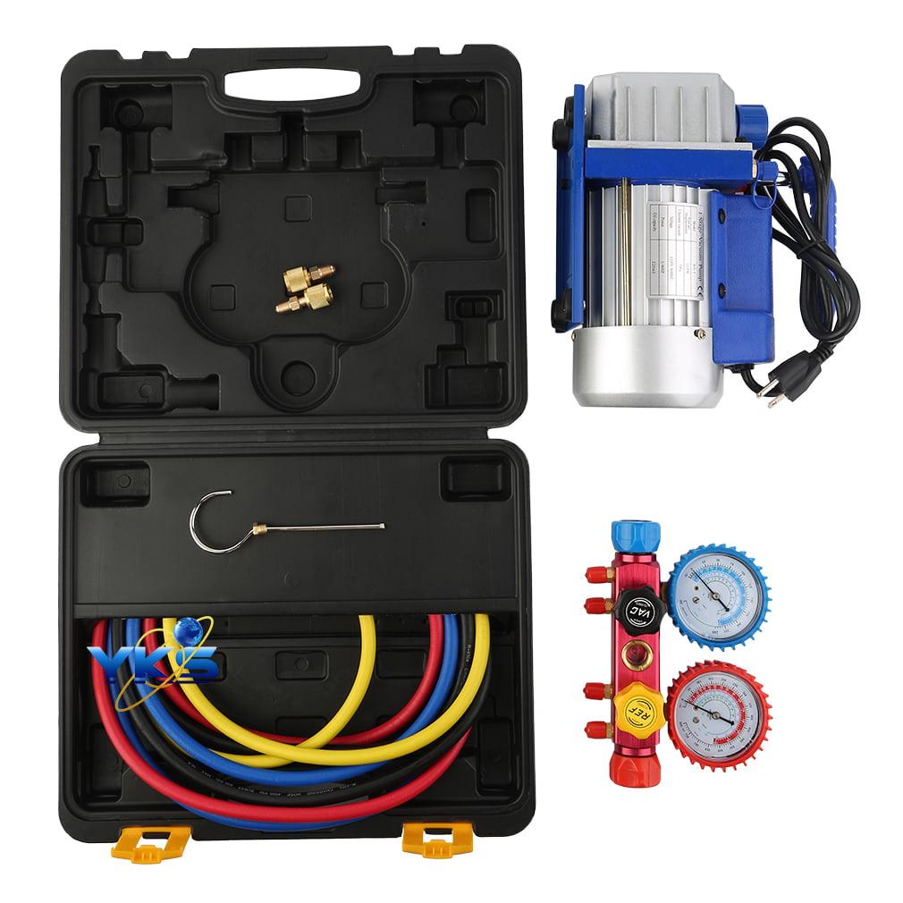 New 1/3HP 3CFM Vacuum Pump and 4-Way A/C R410a Aluminum M...
