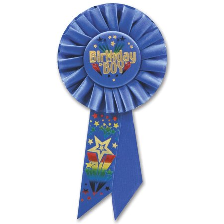 "Pack of 6 Royal Blue ""Birthday Boy"" Party Celebration Rosette Ribbons 6.5"""