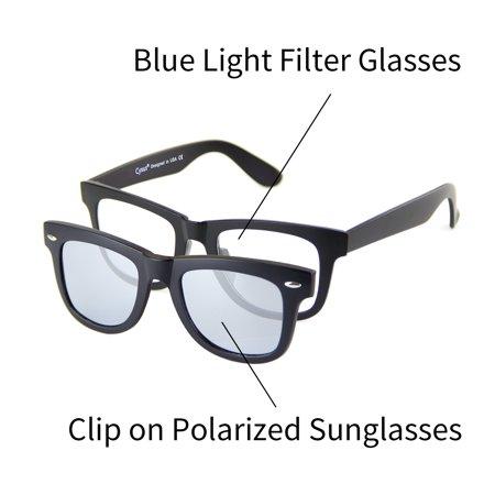 3e2eb64d24 Cyxus - Cyxus 2-in-1 Set Blue Light Blocking Glasses with Clip On Polarized  Sunglasses Lightweight Frame Men Women Eyewear - Walmart.com