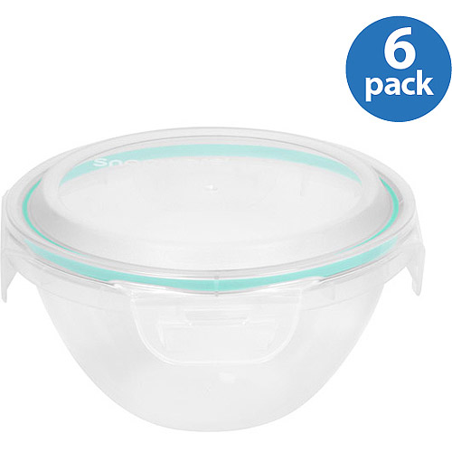 Snapware Airtight Plastic 3.5-Cup Nesting Food Storage Container Bowl, 6-Pack