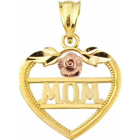 Handcrafted 10kt Gold MOM With Flower Heart Charm Pendant