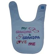 My Grandma & Grandpa Love Me Baby Bib (Light Blue)