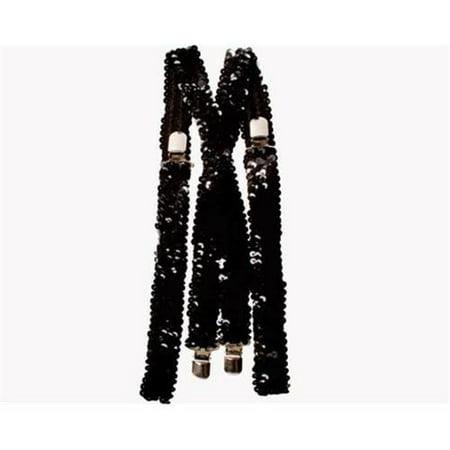 Sequin Suspenders (Black Sequined Suspenders)