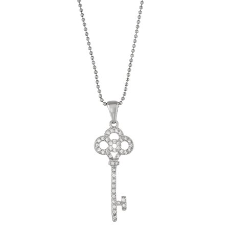 5th & Main Sterling Silver Rhodium Plated Key with Open Flower CZ Pendant -