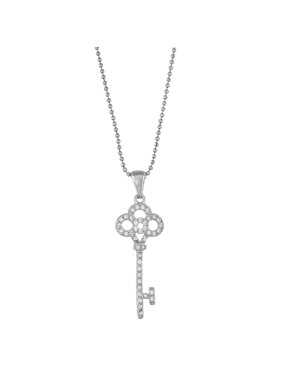 5th & Main Sterling Silver Rhodium Plated Key with Open Flower CZ Pendant Necklace