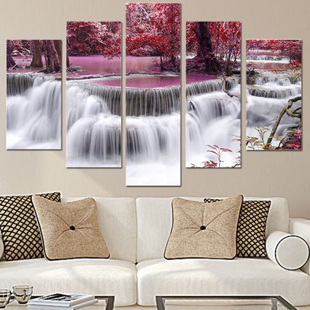 Red Tree Forest Waterfall Landscape Unframed 5 Panel Wall Art Decor Canvas Wall Art Modern Abstract Modern Hanging Mural Home Oil Painting Picture (Tree Set Oil Painting)