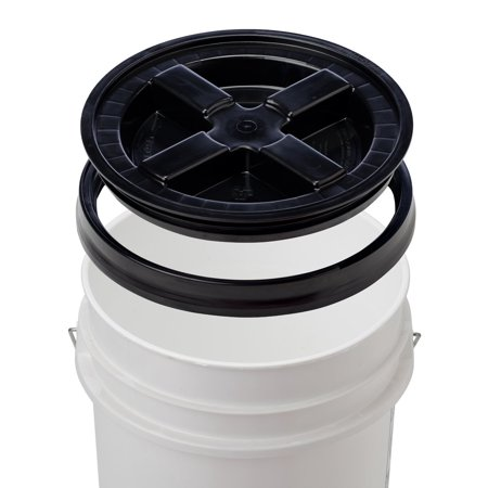 5 Gallon White Bucket & Gamma Seal Lid - Food Grade Plastic Pail & Gamma2 Screw Seal Tight Lid (Black) Black Flip Top Lids
