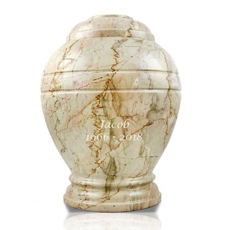Cream Urn - Marble Cremation Urn - Large 200 Pounds - Cream White Alluvium