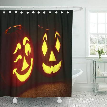 KSADK Orange JackoLantern Pumpkin Pair Glowing Bright with One Winking Friendly 31st All Shower Curtain 66x72 inch - Winking Pumpkin