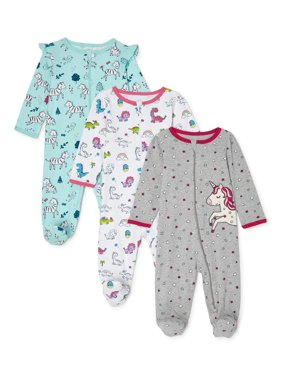 Wonder Nation Baby Girl Cotton Inverted Zipper Sleep 'N Play Pajamas, 3-Pack