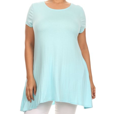 - Women Plus Size Short Sleeve Solid Pocket Asymmetric Tunic Knit Top Tee Shirt Sky Blue XL B0216 SD