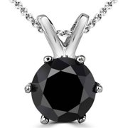 Majesty Diamonds 0.25 CT 6-Prong Solitaire Black Diamond Pendant Necklace in 14K White Gold With Chain, 0.25 Carat