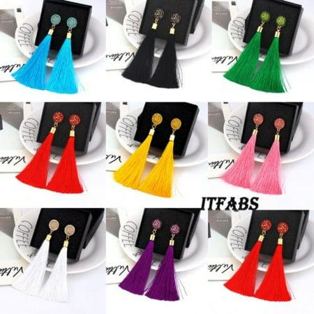 Super Long Funky Tassel Chandelier Dangle Party Earrings - Pierced or Clip Blue Clip Earrings