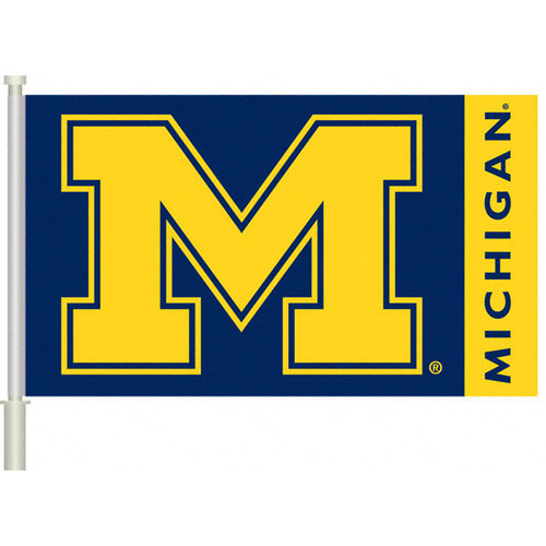 NCAA - Michigan Wolverines 11x18 Double Sided Car Flag - Set of 2