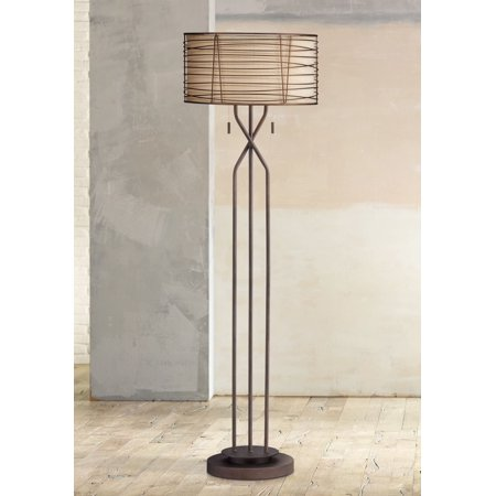 Franklin Iron Works Modern Floor Lamp Industrial Bronze Woven Iron and Burlap Double Drum Shade for Living Room Reading Bedroom