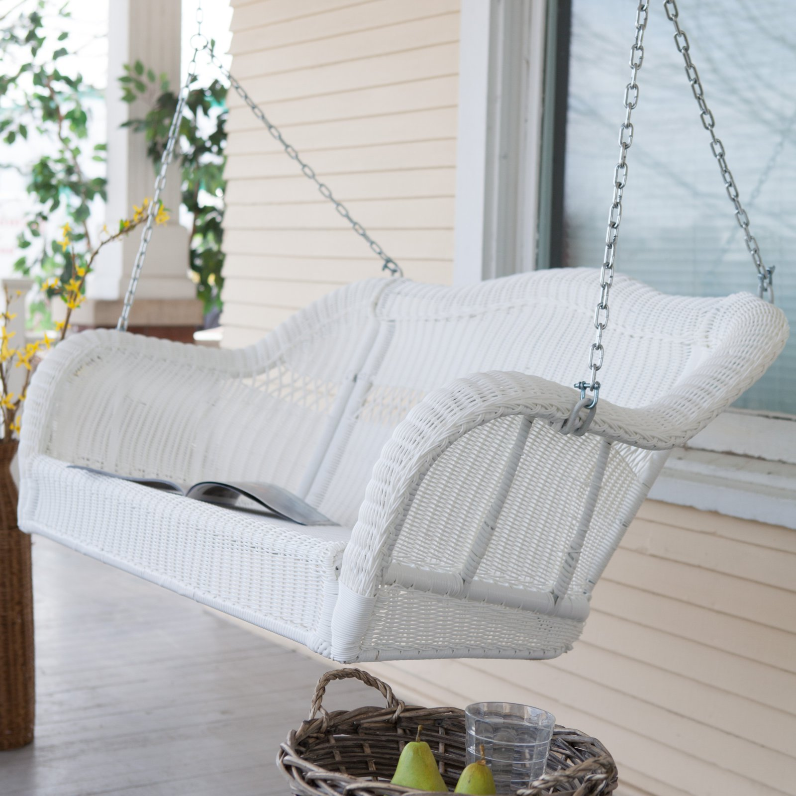 Coral Coast Casco Bay Resin Wicker Porch Swing by Chi Wing Rattan Factory