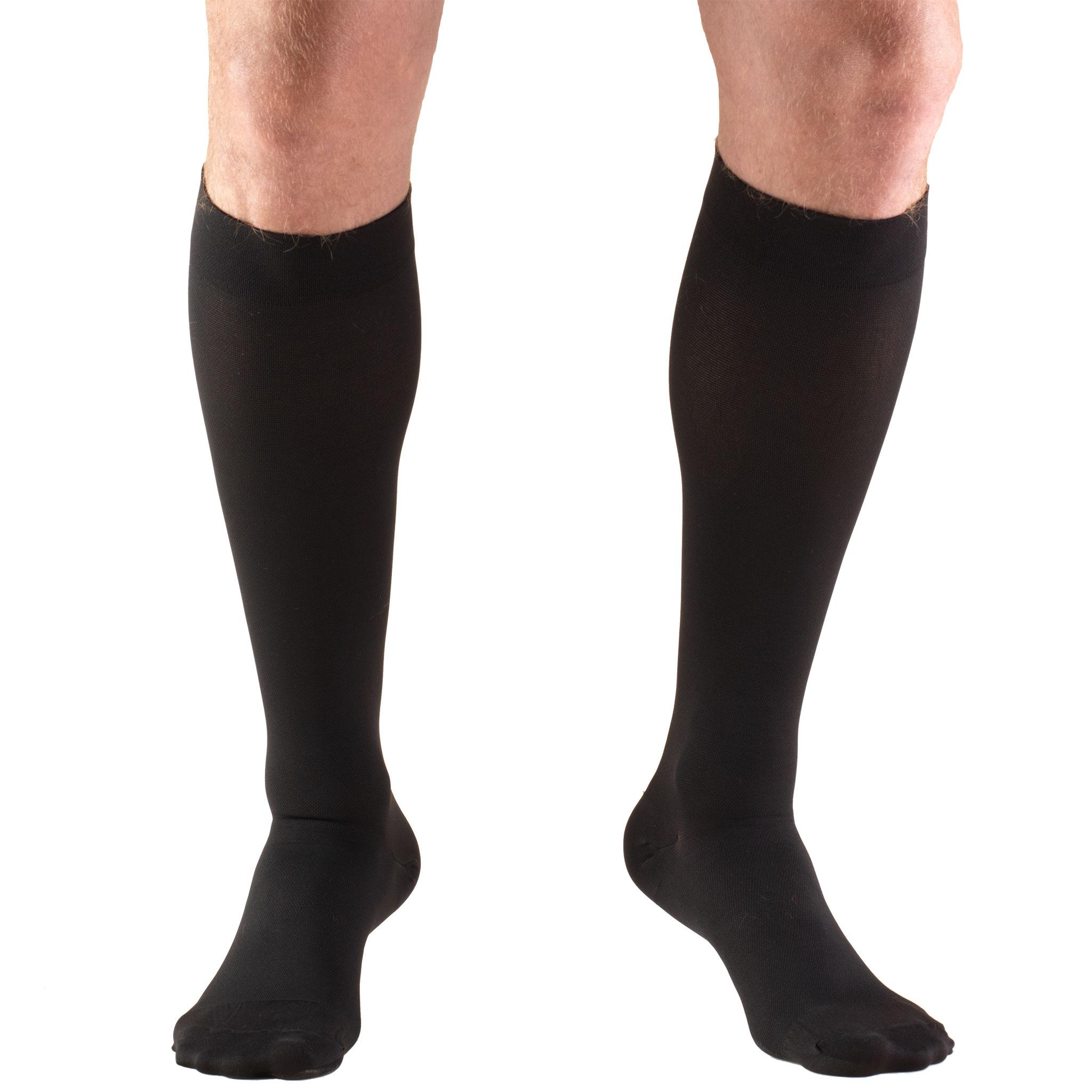 Truform Stockings, Knee High, Closed Toe: 30-40 mmHg, Black, Large