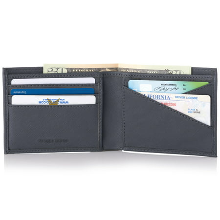 - Alpine Swiss Double Diamond Mens RFID Leather Bifold Wallet Divided Bill Section