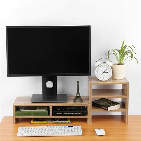 HURRISE Computer Laptop Monitor Riser Stand Desktop Wooden Storage Organizer 3 Layer Shelf (Light - Christmas Lights For Computer Monitor