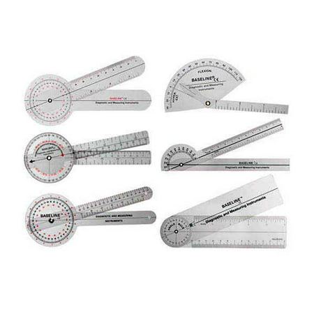 Baseline 360 degree clear plastic goniometer joint angle and range of motion measurer