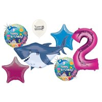 Pink 2nd Birthday Ocean Buddies Great White Shark Party Decorations Balloon Bouquet