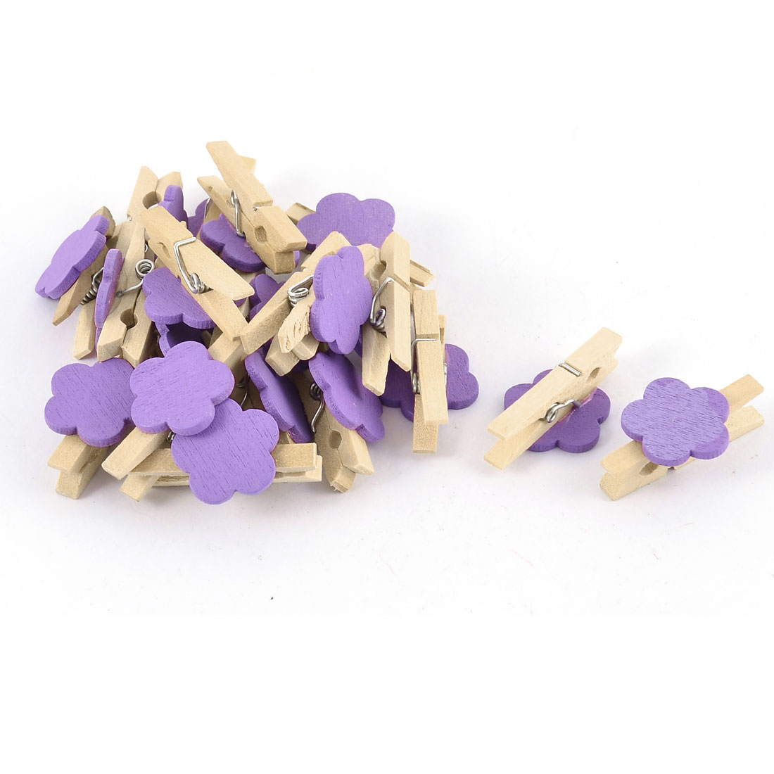 Unique Bargains House Card Photo Flower Crafts Clothespin Peg Wooden Clip 20pcs
