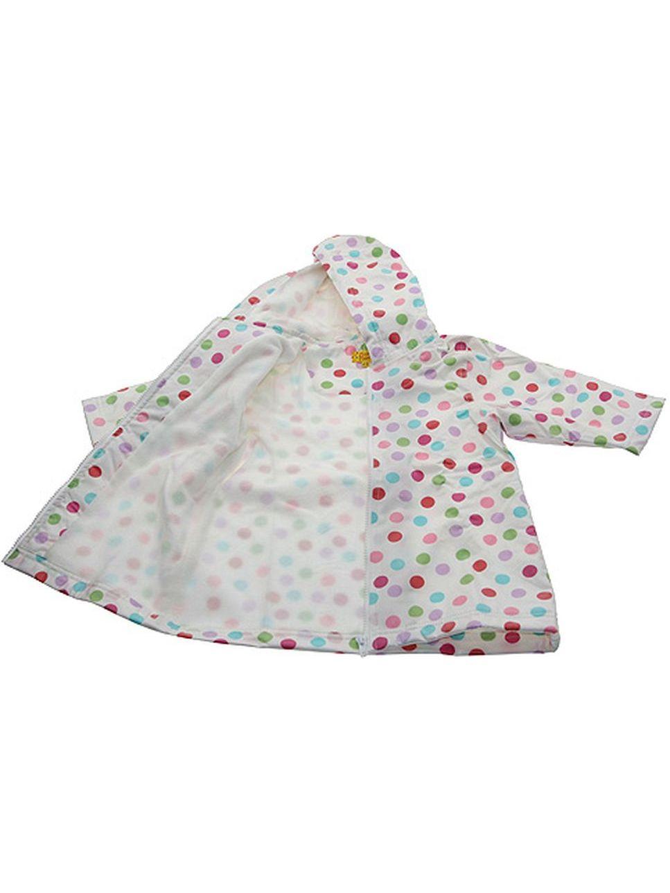 Girls Cute White Polka Dot Lined Raincoat 4/5