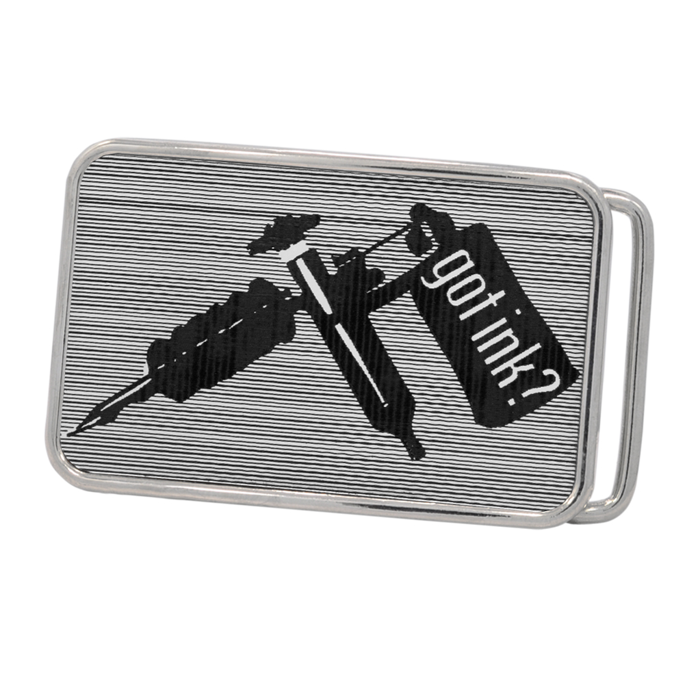 "Piercing Pros ""Got Ink?"" Tattoo Machine Rounded Rectangle Belt Buckle, POLISHED SILVER, S1067-162-SIL"