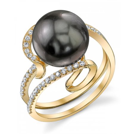 18k Cultured Pearl Ring (9mm Tahitian South Sea Cultured Pearl & Diamond Ivy Ring in 18K)