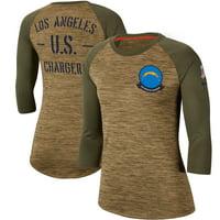 Los Angeles Chargers Nike Women's 2019 Salute to Service Legend Scoopneck Raglan 3/4 Sleeve T-Shirt - Khaki