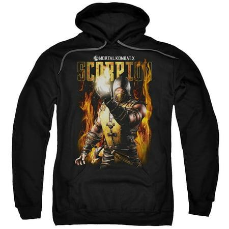 Mortal Kombat Scorpion Mens Pullover Hoodie (Scorpion Mask Mortal Kombat)