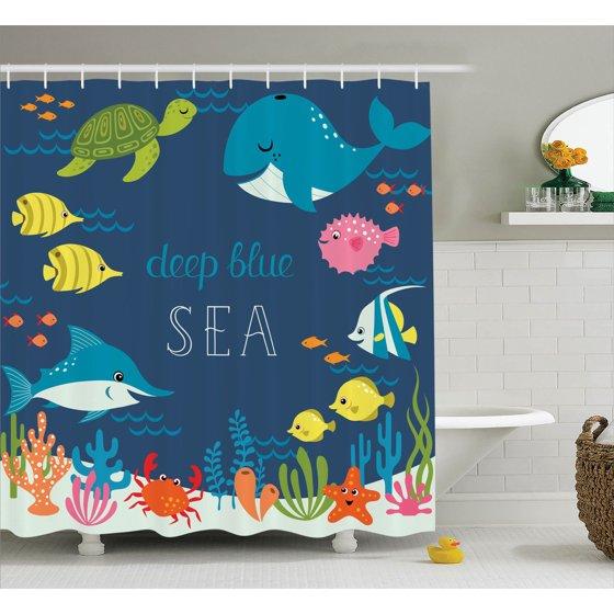 Cartoon Decor Shower Curtain Set Artsy Underwater Graphic With Algaes C Reefs Turtles Sword Fishes The Life Aquatic Motion Bathroom Accessories