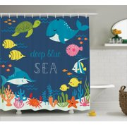 Cartoon Decor Shower Curtain Set Artsy Underwater Graphic With Algaes C Reefs Turtles Sword Fishes